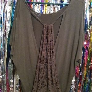 Maurices Drape Top with Open Crochet Back
